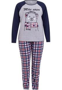 Pijama De Inverno Mãe Ursa Plus Size Feminino Luna Cuore