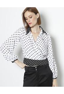 Camisa Poã¡ Com Bordado & Botãµes - Off White & Preta Linho Fino