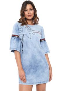 2d142d3c4ea8 R$ 359,97. Kanui Vestido Azul Jeans Curto Bordado ...