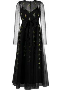 Redvalentino Vestido Com Tule E Bordado Floral - Preto