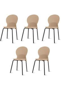 Kit 5 Cadeiras Luna Assento Bege Base Preta - 57695 - Sun House