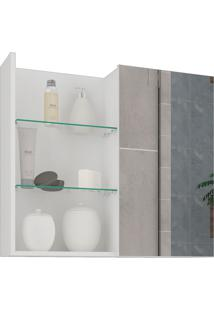 Espelheira Para Banheiro Com 1 Porta 60Cm Jasmin-Mgm - Branco