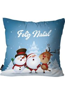 Capa Para Almofada Mdecore Feliz Natal Azul 55X55