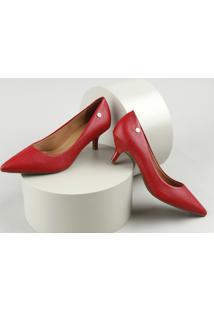 Scarpin Feminino Vizzano Em Verniz Texturizado Bico Fino Salto Fino Baixo Vermelho