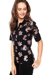 Camisa Manga Curta Colcci Renda E Bordado Preta/Rosa