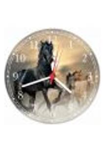 Relógio De Parede Animais Cavalos Colorido Decorações Salas