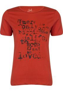 Camiseta Feminina Happiness - Marrom - Feminino - Dafiti