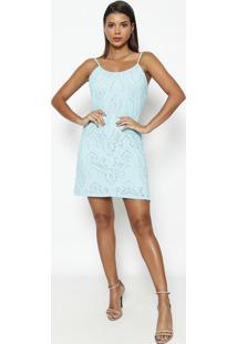 Vestido Em Renda Com Recorte- Azul- Lanã§A Perfumelanã§A Perfume
