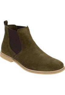 Bota Chelsea Camurça Escrete Boots Fechamento Em Elástico Masculina - Masculino-Verde