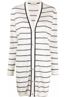 Gentry Portofino Longline Striped-Knit Cardigan - Branco