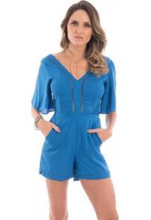 Macacão Curto Floriá Decote V - Feminino-Azul