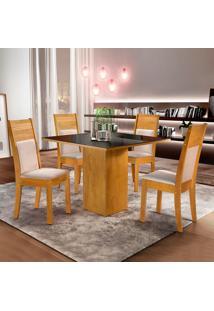 Conjunto De Mesa De Jantar Dakota Com 4 Cadeiras Ravena L Suede Preto E Bege
