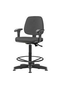 Cadeira Job Com Bracos Assento Courino Cinza Escuro Base Caixa Metalica Preta - 54532 Cinza