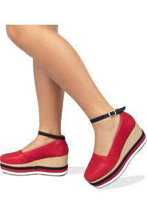 Anabela Aberta Salto Médio Em Nobucado Vermelho Com Preto E Branco