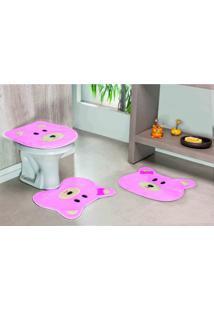 Tapete Jogo Banheiro Formato Ursa Rosa Guga Tapetes