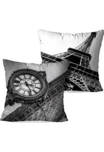 Kit 2 Capas Para Almofadas Decorativas Love Decor Londres E Paris 35X35Cm Pretas