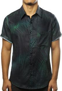 Camisa Camaleão Urbano Folhagem Dark Preta