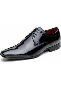 Sapato Social Veneza Verniz - Masculino-Preto