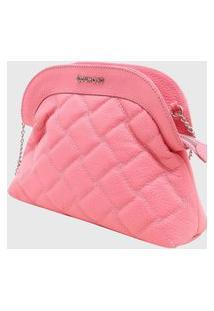 Bolsa Shoulder Bag Couro Matelassê Dumond Rosa