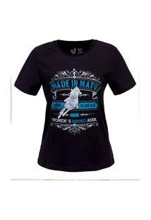 Tshirt Estampada Made In Mato Woman´S Rodeo Preta Multicolorido