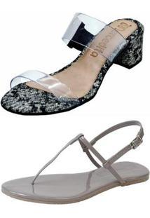 Kit Mercedita Shoes Tamanco Salto Bloco E Rasteira Casual Verniz Fivela - Feminino-Chumbo