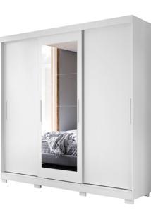 Guarda Roupa Auris C/ Espelho 3 Portas De Correr Flex Branco Fosco Liso/Cedro Albatroz
