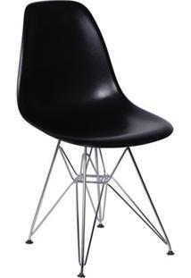 Cadeira Eames Dkr- Preta & Prateada- 80,5X46X42Cm