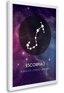 Quadro Oppen House Signos Escorpião Zodíaco Horóscopo Branca E Vidro Decorativo