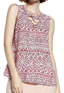 Blusa Energia Fashion Plano Estampado Feminina - Feminino-Vermelho