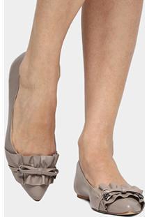 Sapatilha Couro Shoestock Babados Feminina - Feminino-Cinza