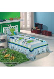 Jogo De Cama Dino Solteiro- Azul Claro & Verde- 3Pã§Slepper