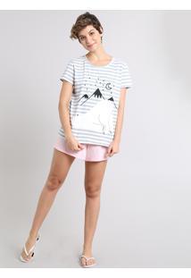 Pijama Feminino Ursinho Listrado Manga Curta Off White