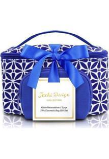 Kit Necessaire 2 Em 1 Geométrica Jacki Design Étnica Feminino - Feminino-Azul