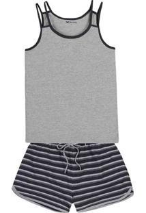 Pijama Feminino Em Malha De Algodão Com Fio Tinto E Alças Duplas