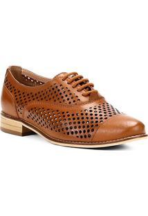Oxford Couro Shoestock Lasercut Feminino - Feminino-Caramelo