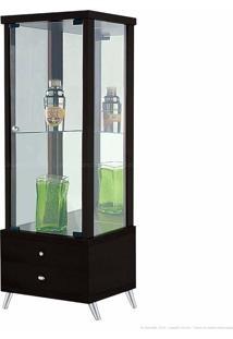 Cristaleira 1 Porta De Vidro Com Espelho E Pés Palito Onix 100% Mdf 2 Gavetas Tabaco - Móveis Forini