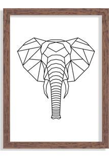 Quadro Decorativo Line Drawing Elefante Madeira - Grande