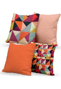 Kit 4 Capas De Almofadas Decorativas Own Triângulos Coloridos E Lisas 45X45 - Somente Capa