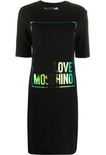 Love Moschino Foil Logo Print T-Shirt Dress - Preto