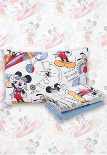 Jogo De Cama 3Pçs Solteiro Santista Infantil Disney Mickey Aviador Azul