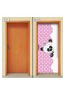 Adesivo Decorativo De Porta - Panda - Infantil - Rosa - 2028Cnpt