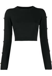 Versace Suéter Com Botões Nas Mangas - Preto