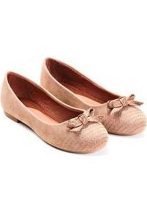 Sapatilha Camurça Mizzi Shoes Matelassê Com Lacinho Feminina - Feminino-Nude