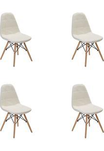 Kit 04 Cadeiras Eiffel Botone S/ Braço Branca Rivatti