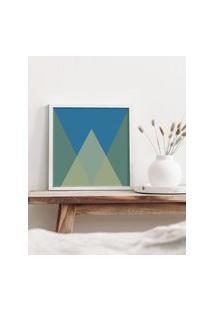 Amaro Feminino Estúdio Nó Quadro Triângulos Azul 30X30, Branco