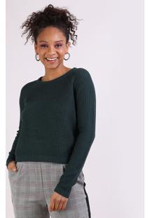 Suéter Feminino Em Tricô Decote Redondo Verde Escuro