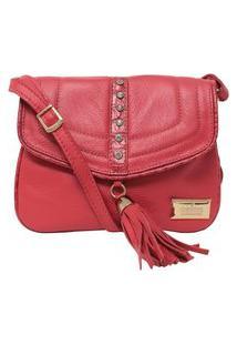 Bolsa Feminina Couro Fino Pequena Transversal Com Brilhantes Vermelha