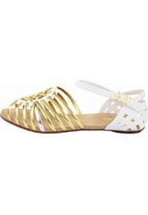 Sandália Sedução Feminina - Feminino-Branco+Dourado