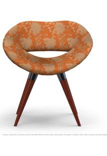 Poltrona Beijo Floral Marrom E Laranja Cadeira Decorativa Com Base Fixa