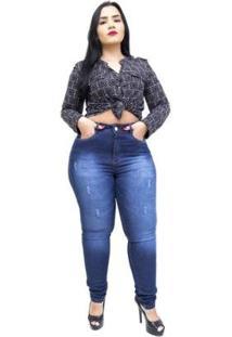 Calça Jeans Helix Plus Size Skinny Salet Feminina - Feminino-Azul